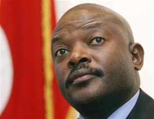 Burundi's President Pierre Nkurunziza holds a news conference in Brussels