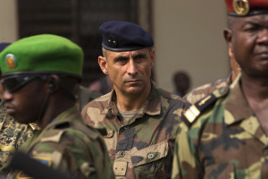 Francisco Soriano, general of the French peacekeeping military operation in the country, listens to address by interim president of the Central African Republic Catherine Samba-Panza in Bangui
