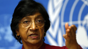 UN High Commissioner for Human Rights Pillay gestures during a news conference at the United Nations in Geneva