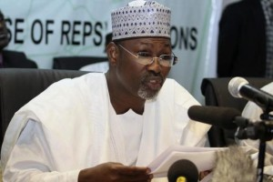 Chairman of Independent National Electoral Commission (INEC) Attahiru Jega speaks at a news conference in Nigeria's capital Abuja